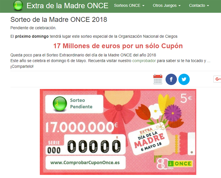 Imagen - Comprueba el resultado del Sorteo ONCE Extra Día de la Madre 2018