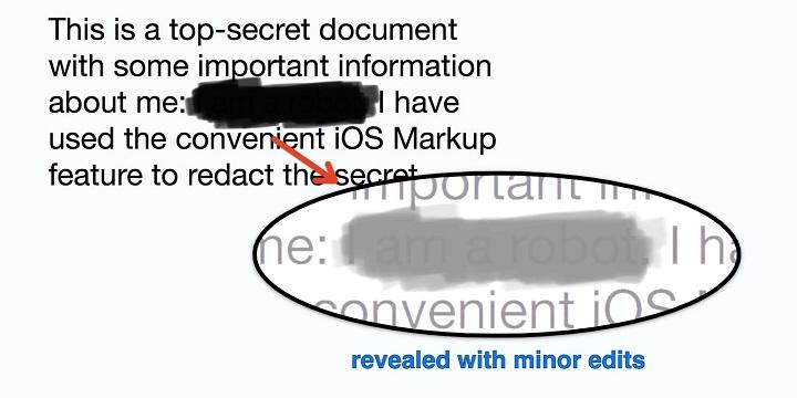 Imagen - Las herramientas de marcación de iOS no sirven para ocultar texto sensible