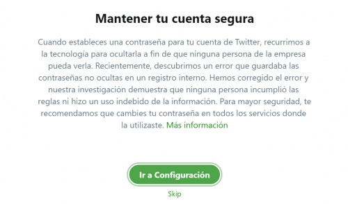 Imagen - Twitter recomienda cambiar nuestra contraseña por un fallo de seguridad