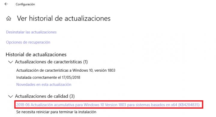Imagen - La actualización KB4284835 sufre problemas al instalarse en Windows 10 April 2018 Update
