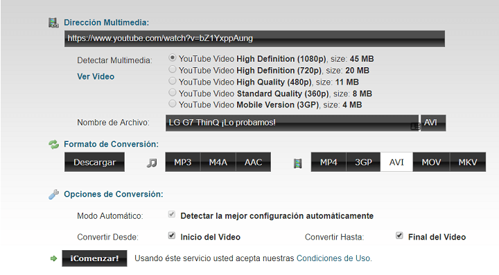 Imagen - ClipConverter.cc, convierte YouTube a MP3 y MP4