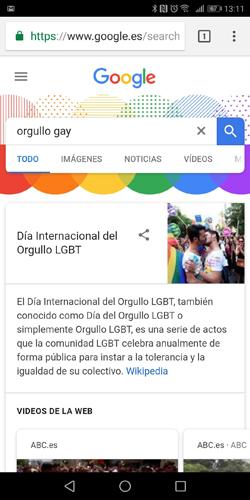 Imagen - Google muestra los colores del arcoíris al buscar términos LGBT durante el Orgullo 2018
