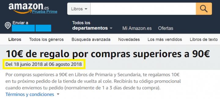Imagen - Oferta: descuento de 10 euros comprando los libros de texto en Amazon