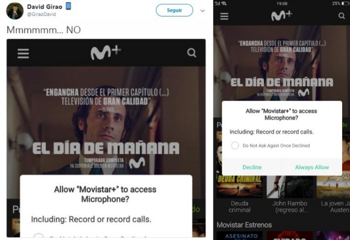 Imagen - La app de Movistar+ pide acceder al micrófono del teléfono para grabar llamadas