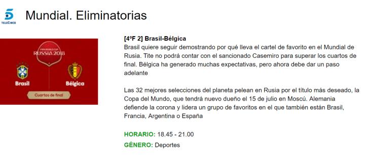 Imagen - Dónde seguir online el partido Brasil - Bélgica del Mundial 2018