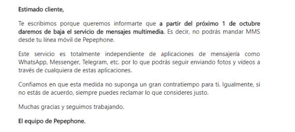 Imagen - Pepephone dará de baja el servicio de MMS