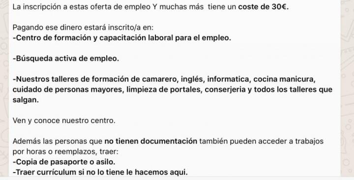 Imagen - Cuidado con la oferta de empleo en WhatsApp que te pide pagar 30 euros