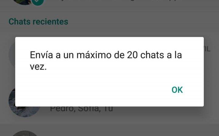 Imagen - WhatsApp ya no deja compartir texto o fotos con más de 20 contactos a la vez