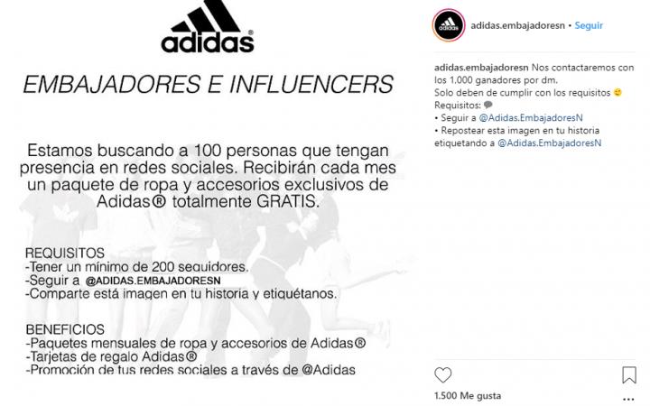 """Imagen - """"¿Estás listo para ser embajador de Adidas?"""", la nueva estafa de Instagram"""