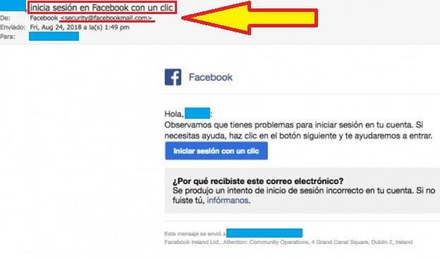 """Imagen - Cuidado con el correo: """"Inicia sesión en Facebook con un clic"""", es una estafa"""