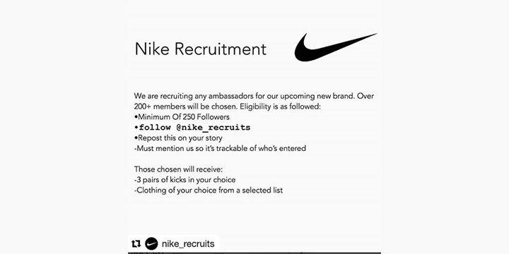 Cuidado! Nike no está buscando embajadores en Instagram, es