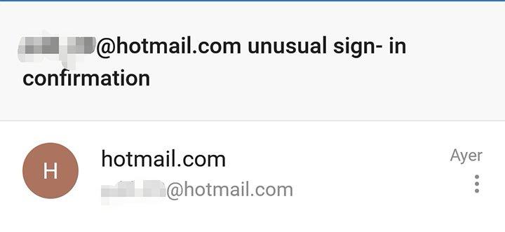 Imagen - Cuidado con el email de un inicio de sesión inusual en Hotmail