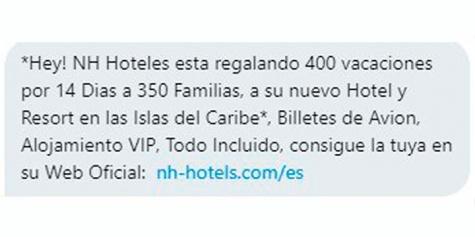 Imagen - Cuidado con las supuestas vacaciones en el Caribe que NH Hoteles regala por WhatsApp