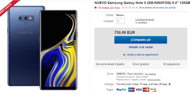 Imagen - Oferta: Samsung Galaxy Note 9 rebajado a solo 760 euros