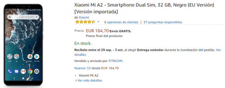 Imagen - Oferta: Xiaomi Mi A2 por solo 184 euros en Amazon