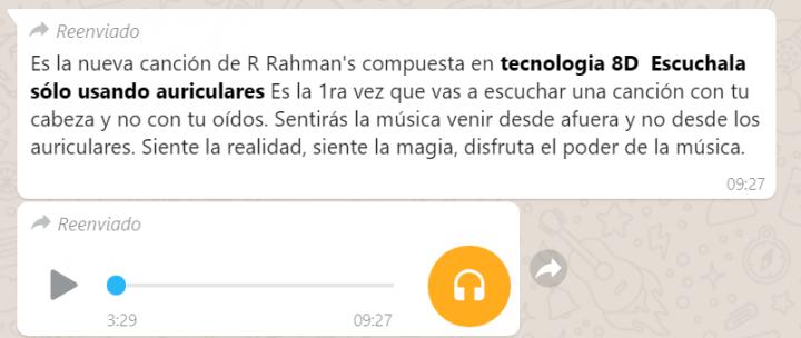 Imagen - Circula por WhatsApp un audio con tecnología 8D ¿es real?