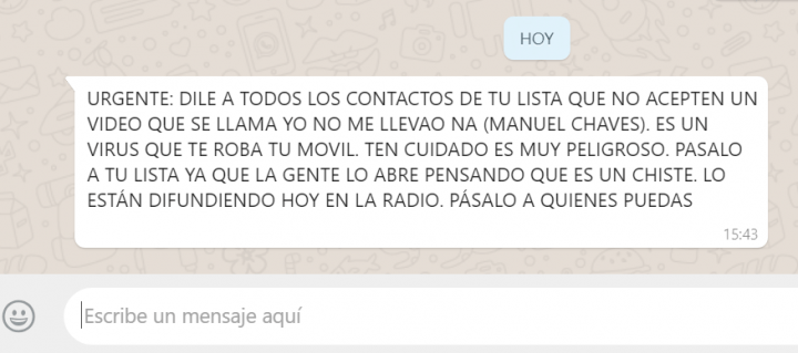 """Imagen - """"Yo no me llevao na (Manuel Chaves)"""", el bulo viral que circula por WhatsApp"""