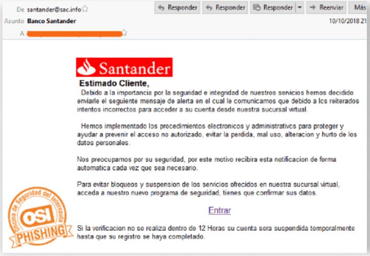 Imagen - Nuevo correo de phishing dirigido a los clientes del Banco Santander