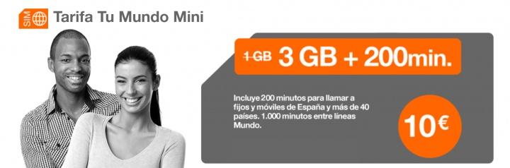 Imagen - Tu Mundo Mini de Orange, 200 minutos de llamadas al extranjero y 3 GB por 10 euros