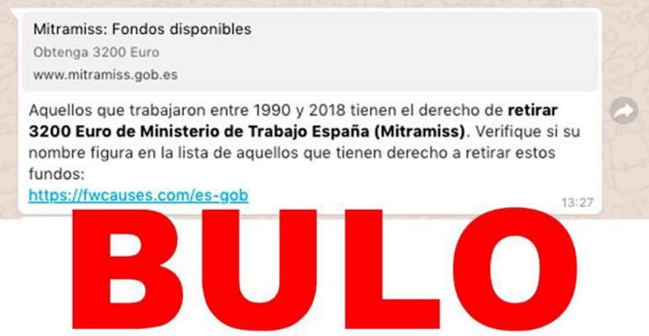 Imagen - 3.200 euros a retirar del Ministerio de Trabajo, una nueva cadena viral en WhatsApp