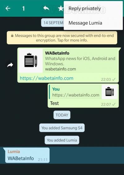 Imagen - WhatsApp permitirá responder de forma privada en grupos