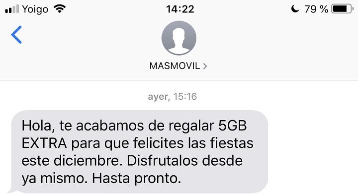 Imagen - MásMóvil regala 5 GB de datos a sus clientes por Navidad