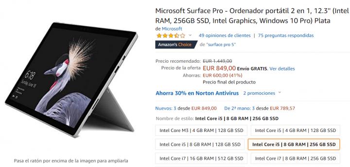 Imagen - Oferta: Surface Pro con 8 GB de RAM y 256 GB de almacenamiento por solo 849 euros