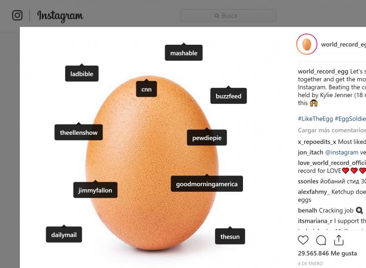 Imagen - Un huevo es la foto con más likes en Instagram