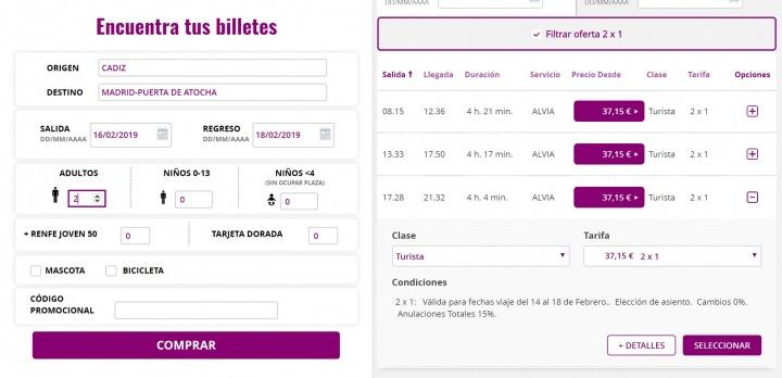 Imagen - Oferta: Renfe ofrece 2x1 online en viajes del 14 al 18 de febrero