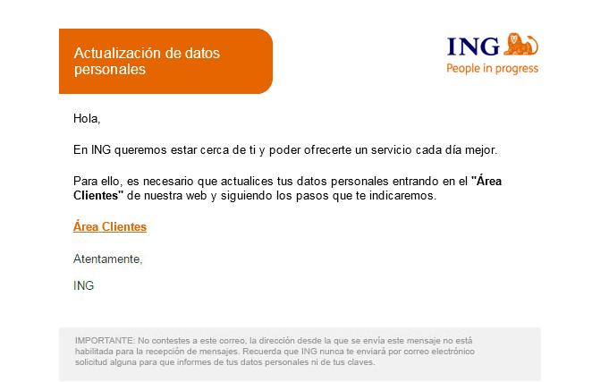 Imagen - Cuidado con el email de ING para la actualización de datos personales