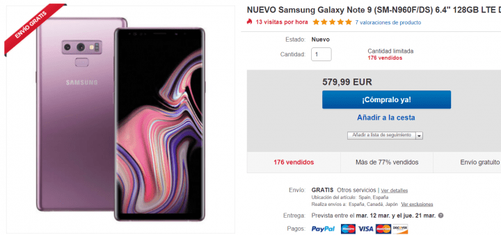 Imagen - Oferta: Samsung Galaxy Note 9 por solo 579 euros en eBay