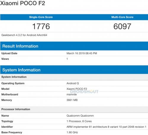 Imagen - Pocophone F2 llegaría con Snapdragon 855 y Android Q