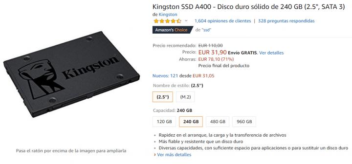 Imagen - Oferta: Kingston SSD A400 de 240 GB por solo 32 euros