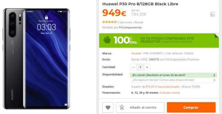 Imagen - Oferta: consigue el Huawei P30 Pro con 100 € de descuento