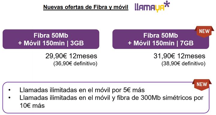 Imagen - Nuevas tarifas de Llamaya: fibra más veloz, más gigas y opción de llamadas ilimitadas
