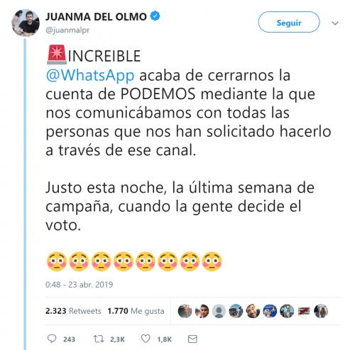 Imagen - WhatsApp cierra la cuenta de Podemos