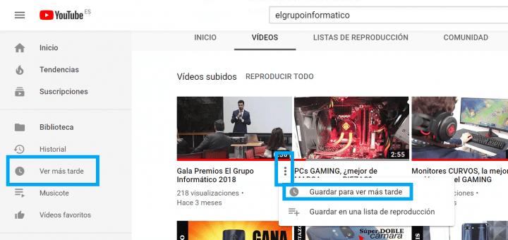 """Imagen - YouTube no muestra el botón """"Ver más tarde"""" por un error"""