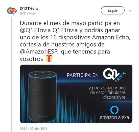 Imagen - Q12 Trivia llega a Amazon Echo: el concurso con premios en dinero añade skill para Alexa