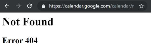 "Imagen - Google Calendar no funciona: indica ""Not Found Error 404"""