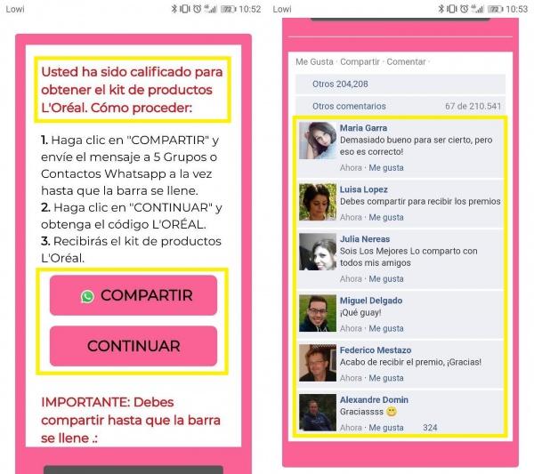 Imagen - Cuidado con la encuesta que promete un kit de productos L'Oréal Paris en WhatsApp