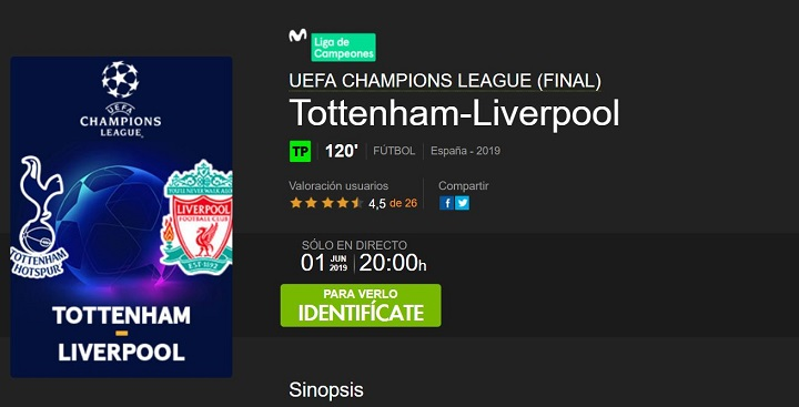 Imagen - Cómo ver online el Tottenham vs Liverpool, la final de la Champions League 2018-2019