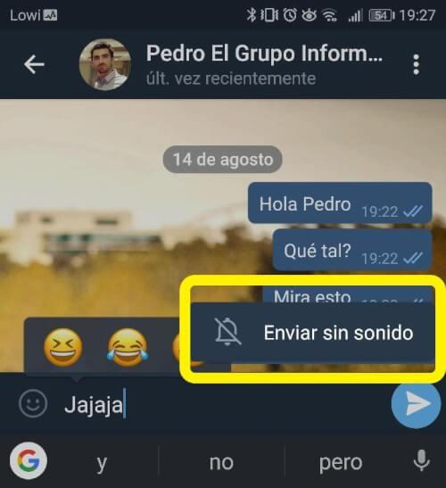 "Imagen - Telegram permite enviar mensajes ""Sin sonido"""