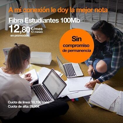 Imagen - Orange lanza fibra para estudiantes de 100 Mbps sin permanencia por 30,95 euros