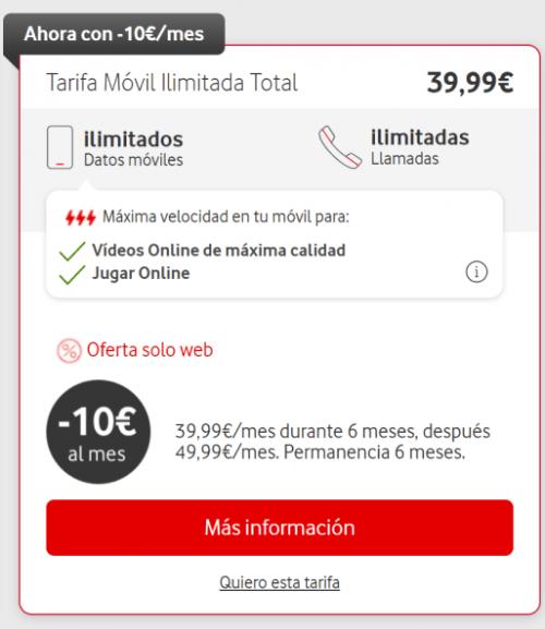 Imagen - Vodafone lanza descuentos en sus tarifas Ilimitadas durante una semana