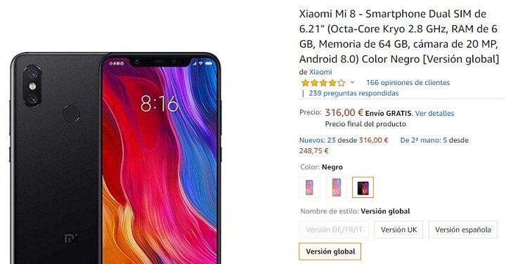 Imagen - Oferta: Xiaomi Mi 8 por solo 316 euros en Amazon