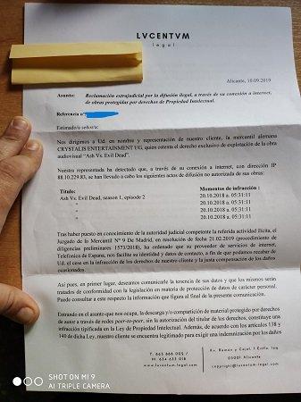 Imagen - Llegan cartas a usuarios con amenazas de ir a juicio por piratería si no pagan 400 euros