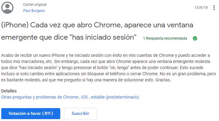 Imagen - Cómo evitar que Chrome para iPhone indique que has iniciado sesión cada vez que lo abres