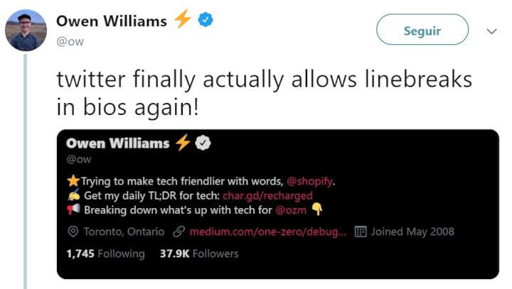 Imagen - Twitter vuelve a permitir saltos de línea en la biografía