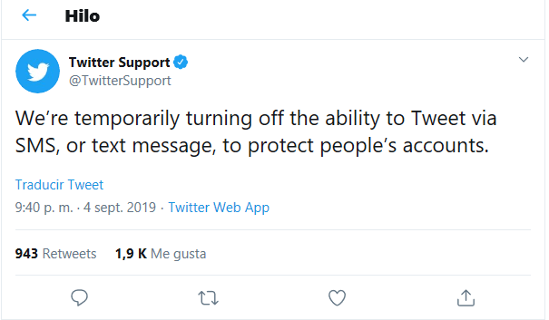 Imagen - Twitter no permite publicar tweets por SMS tras el hackeo a la cuenta de su CEO