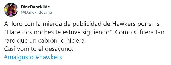 """Imagen - Hawkers envía el mensaje """"Hace dos noches te estuve siguiendo"""" y crea polémica en Twitter"""